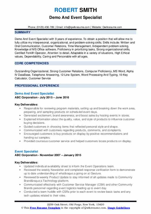 Demo And Event Specialist Resume Sample