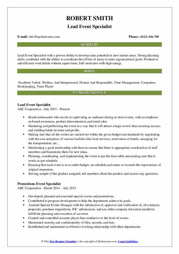 event specialist resume samples