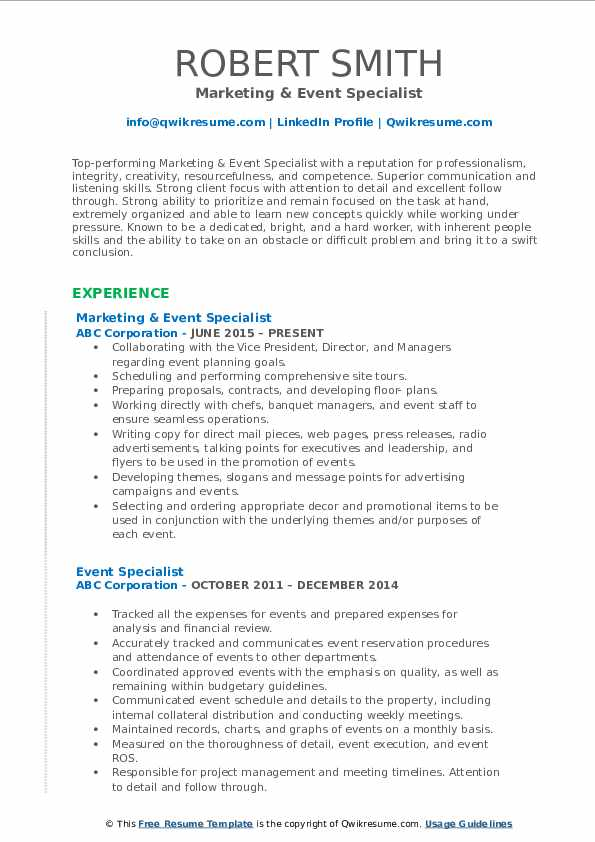 Marketing & Event Specialist Resume Format