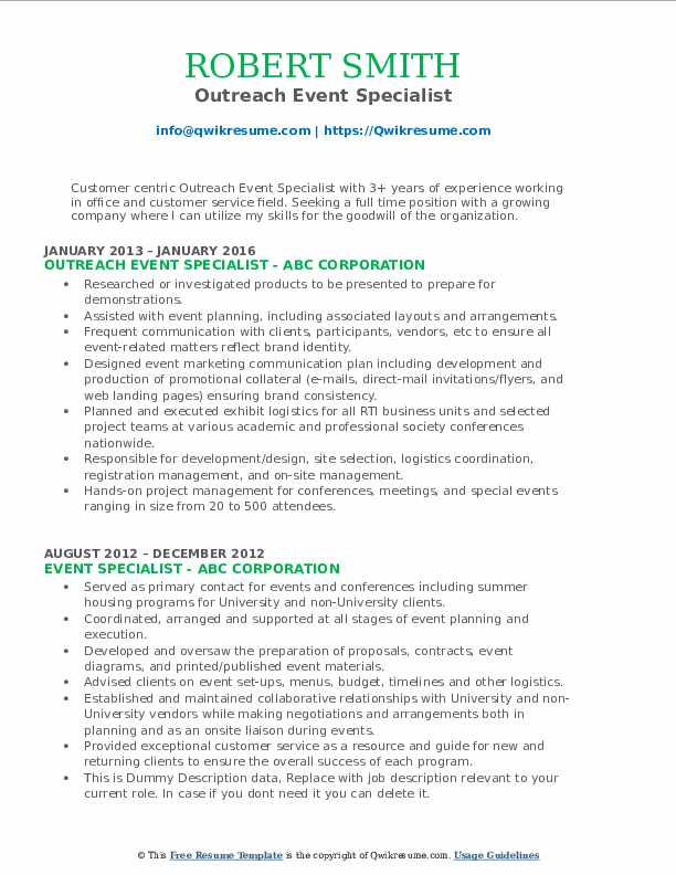 Outreach Event Specialist Resume Model