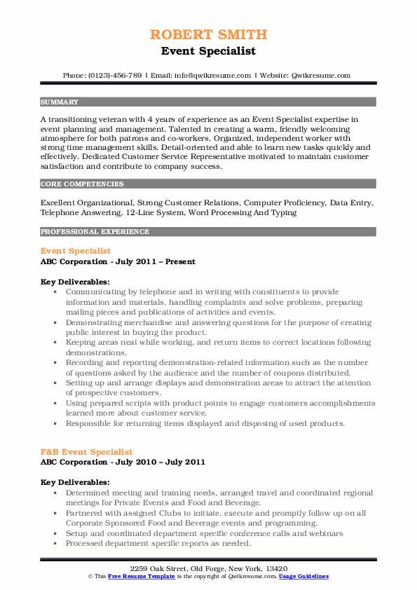 Event Specialist Resume Example