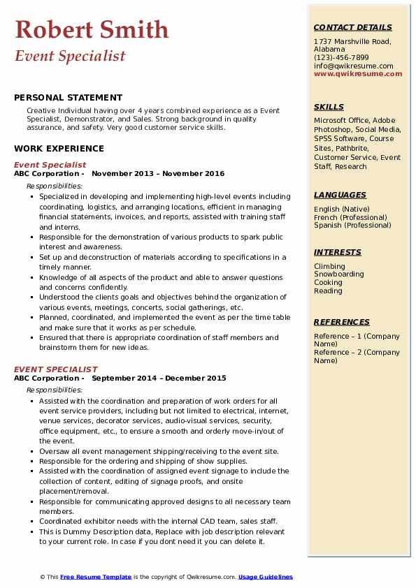 Event Specialist Resume Samples Qwikresume