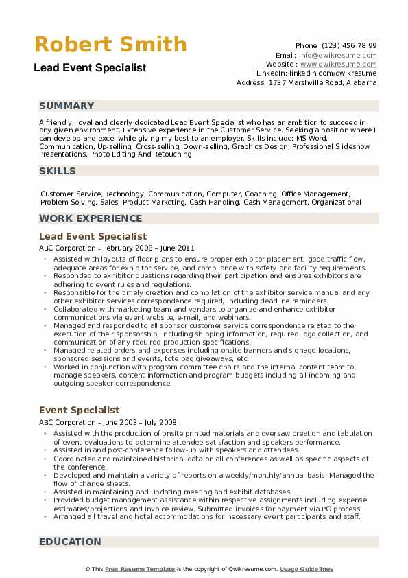 Lead Event Specialist Resume Model