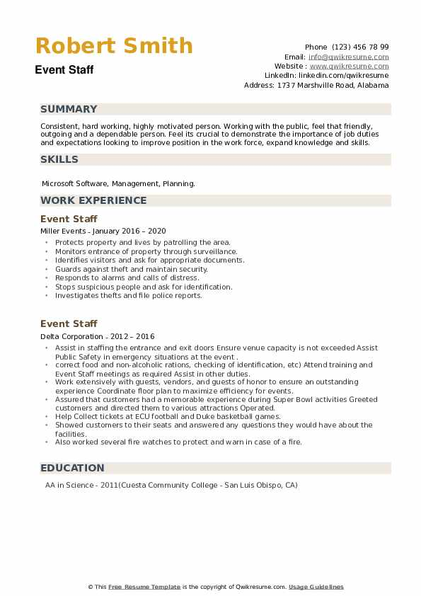 Event Staff Resume example