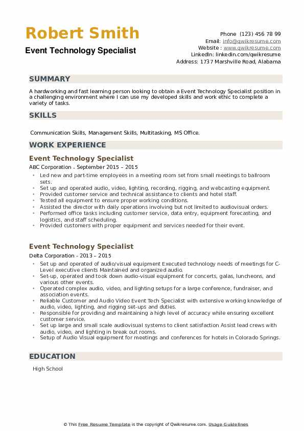 Event Technology Specialist Resume example