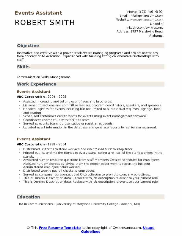 Events Assistant Resume example