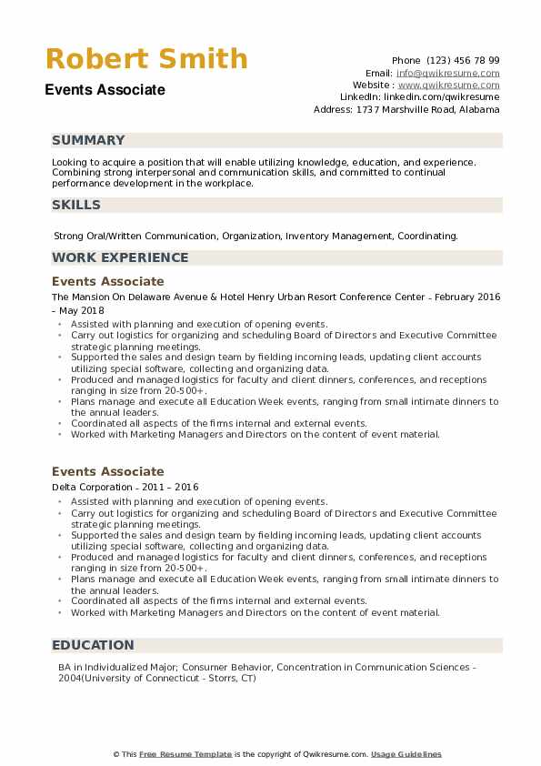 Events Associate Resume example