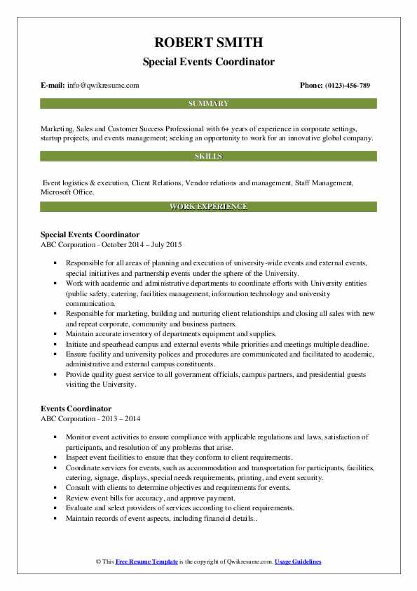 Special Events Coordinator Resume Example