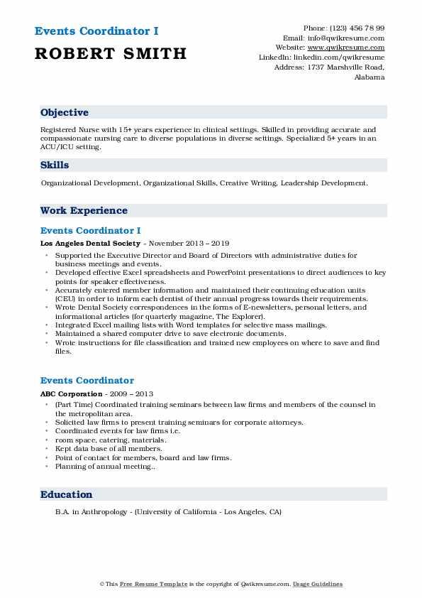 events coordinator resume samples  qwikresume