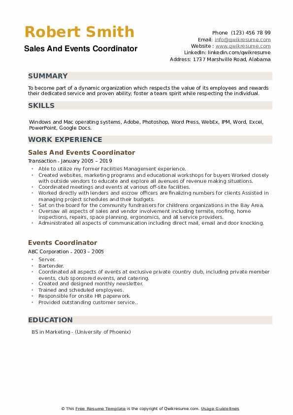 Sales And Events Coordinator Resume Format