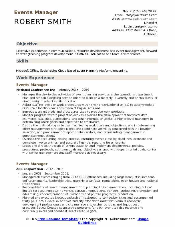 Events Manager Resume Sample