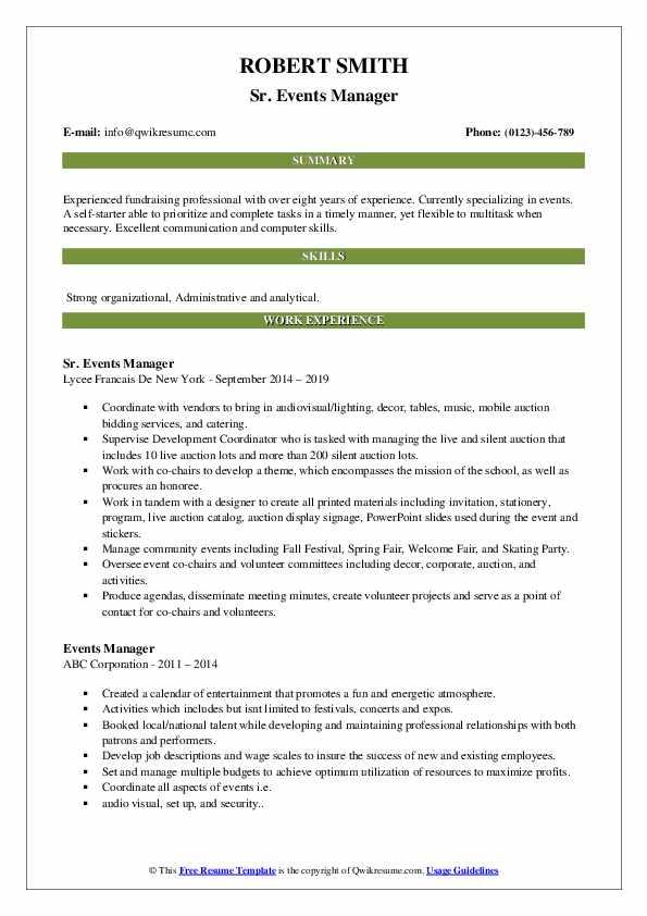 Sr. Events Manager Resume Format