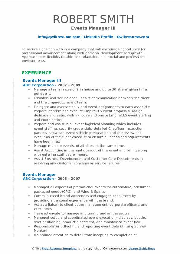 Events Manager III Resume Model