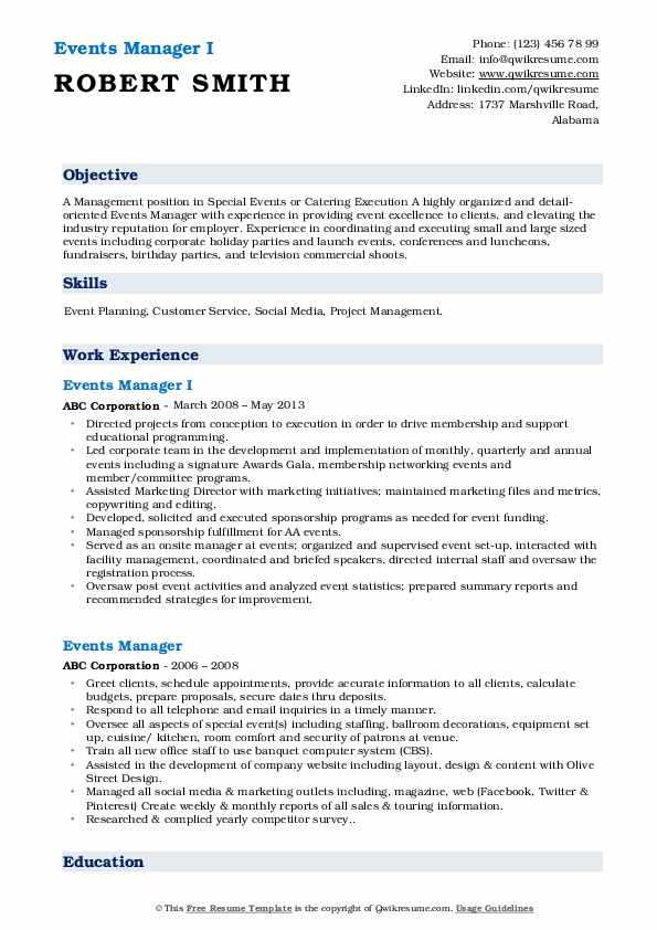 Events Manager I Resume Template