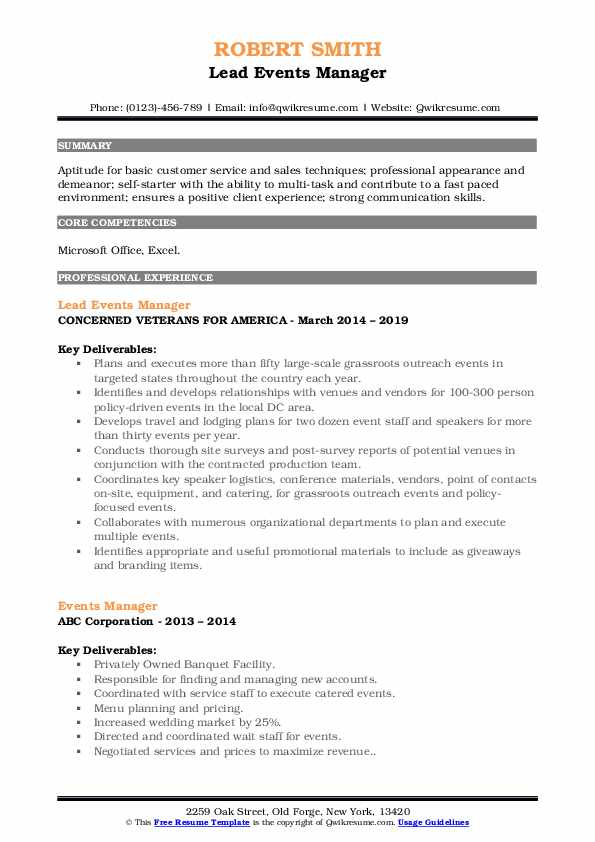 Lead Events Manager Resume Format