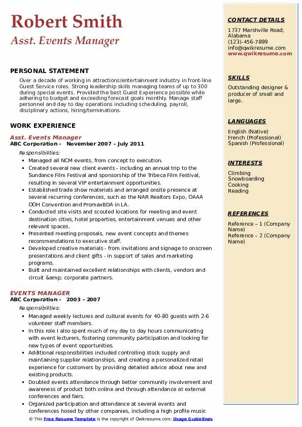 Asst. Events Manager Resume Template