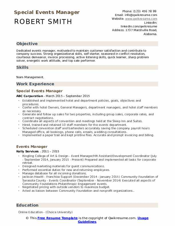 Special Events Manager Resume Model
