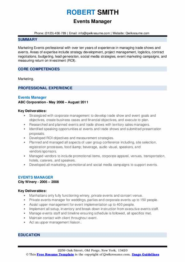Events Manager Resume example