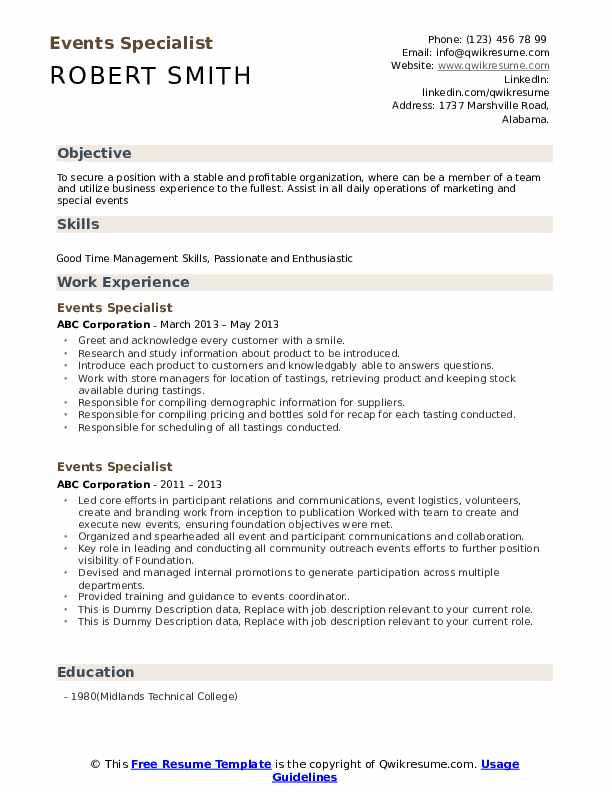 Events Specialist Resume example