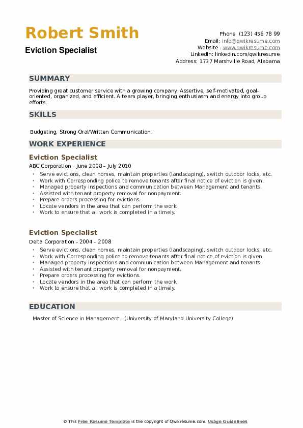 Eviction Specialist Resume example