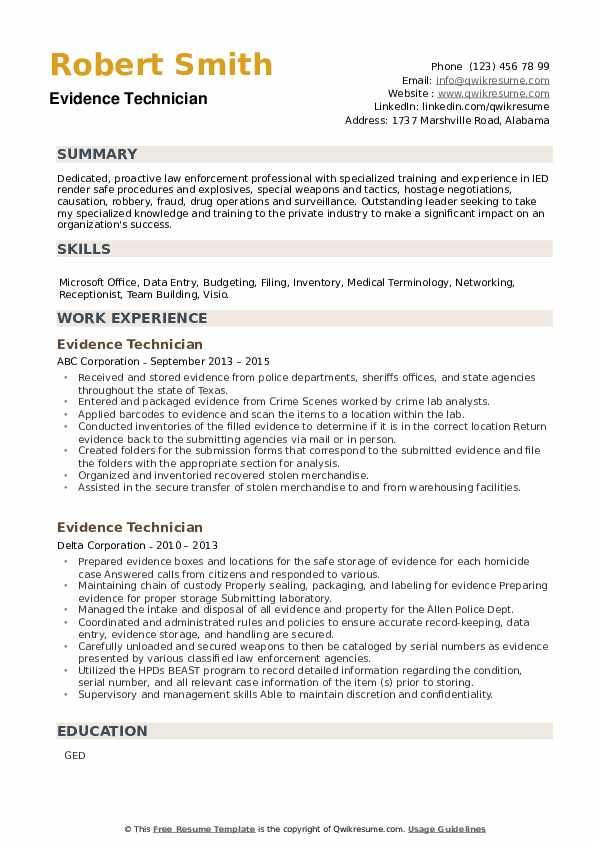 Evidence Technician Resume example