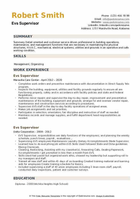 EVS Supervisor Resume example