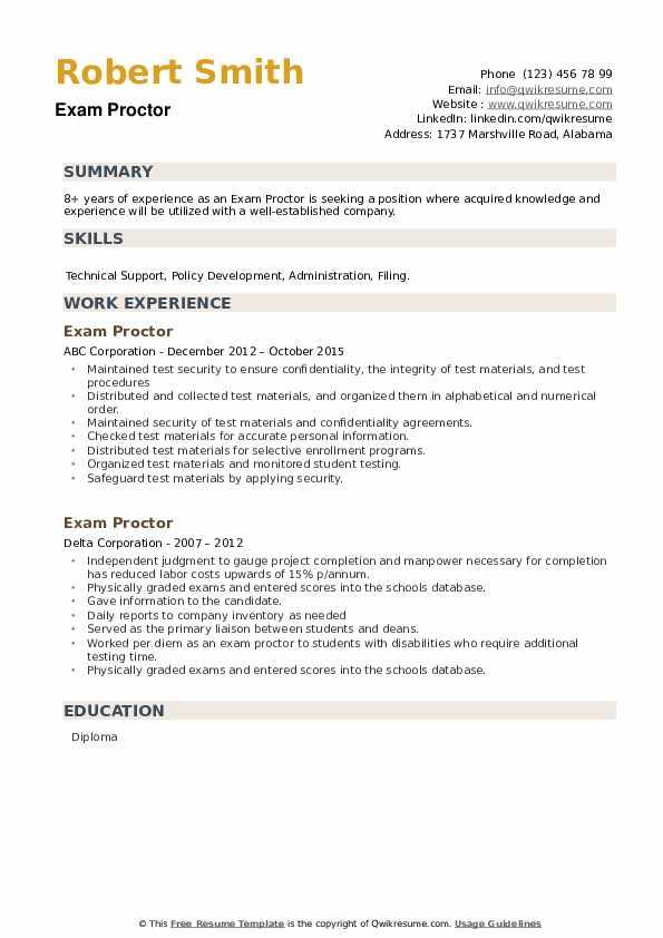 Exam Proctor Resume example