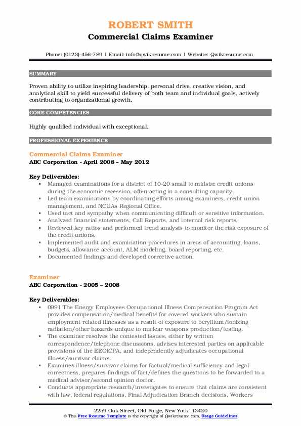 Commercial Claims Examiner Resume Format