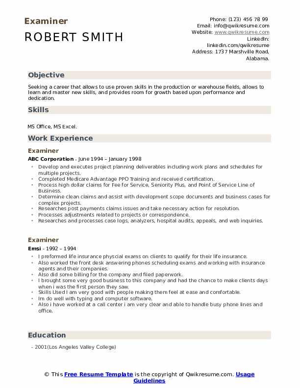 Examiner Resume example