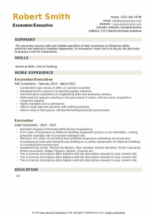 Excavator Resume example