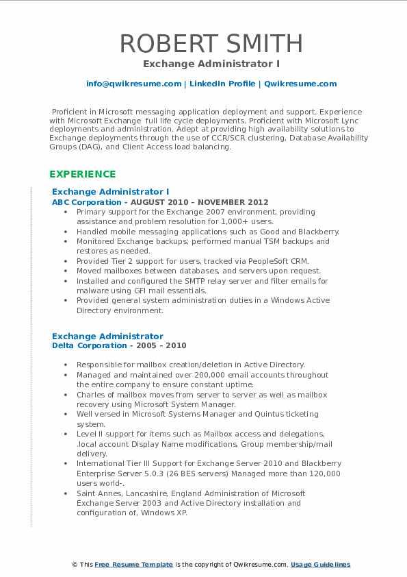 exchange administrator resume samples  qwikresume