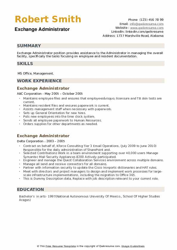 Exchange Administrator Resume example