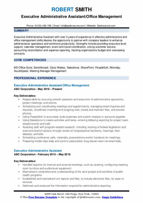Executive Administrative Assistant/Office Management Resume Sample
