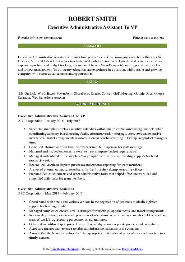 Executive Administrative Assistant To VP Resume Model