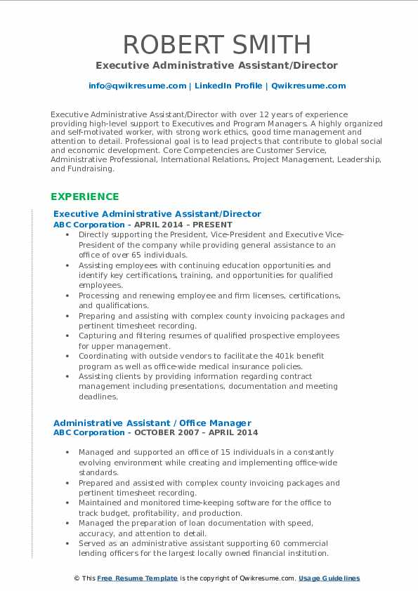 Executive Administrative Assistant/Director Resume Sample