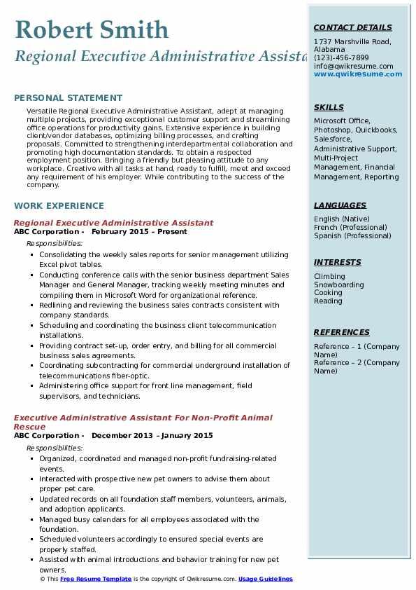 Regional Executive Administrative Assistant Resume Model
