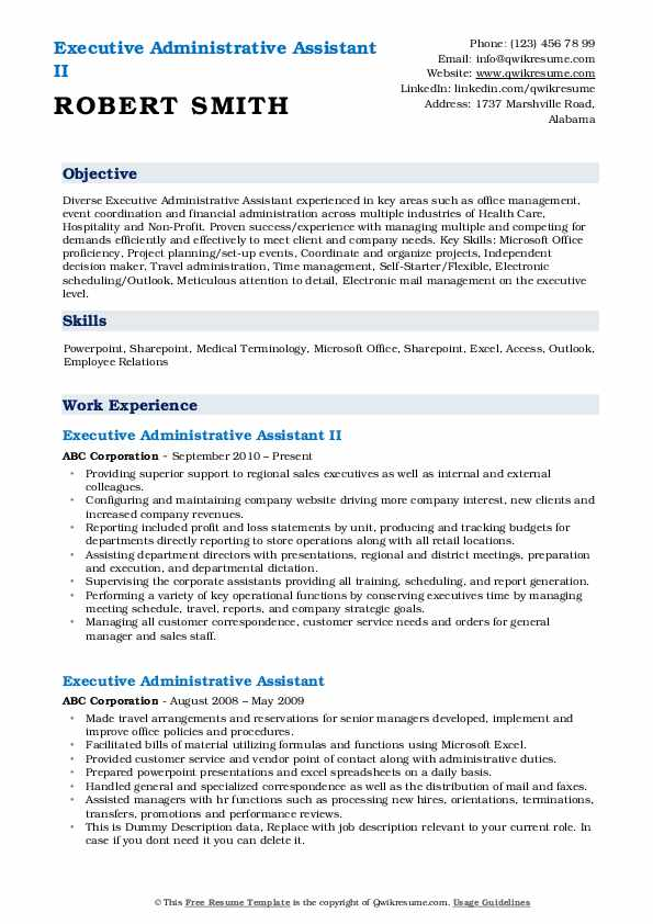 Executive Administrative Assistant II Resume Example