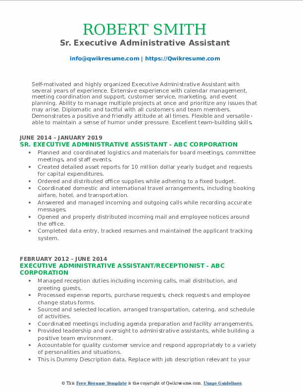 Sr. Executive Administrative Assistant Resume Example