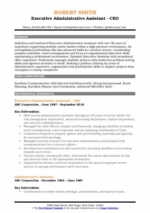 Executive Administrative Assistant - CEO Resume Model