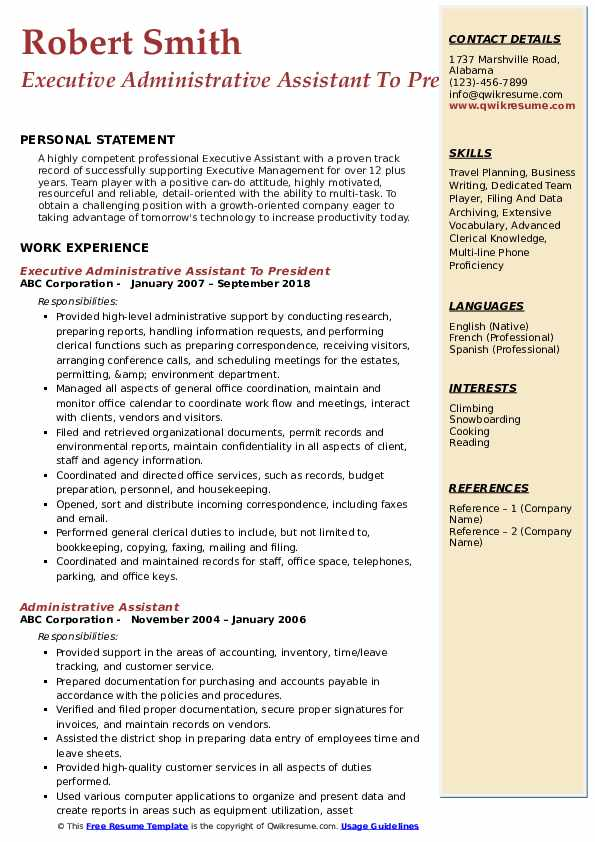 Executive Administrative Assistant To President Resume Format