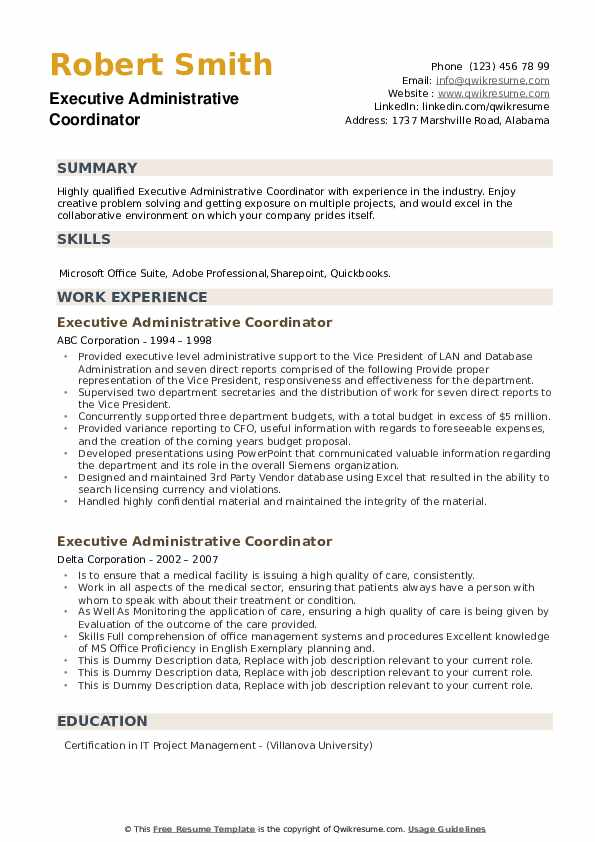 Executive Administrative Coordinator Resume example