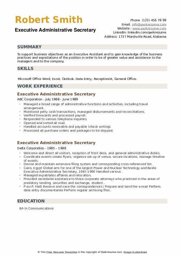Executive Administrative Secretary Resume example