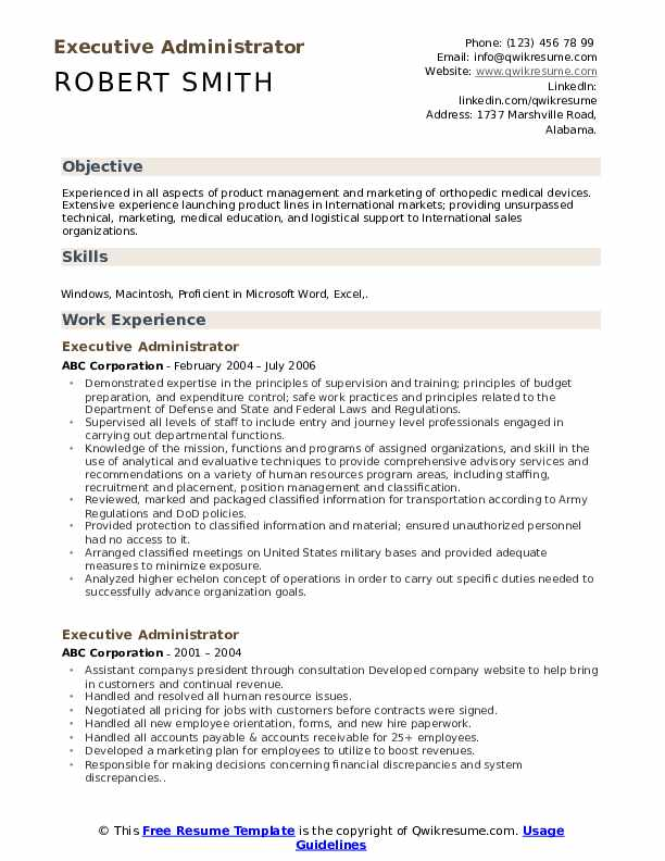 Executive Administrator Resume Format