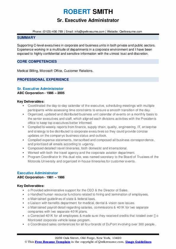 Sr. Executive Administrator Resume Format