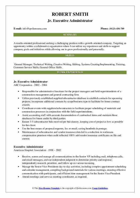 Jr. Executive Administrator Resume Example