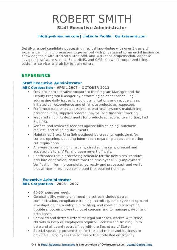 Staff Executive Administrator Resume Sample