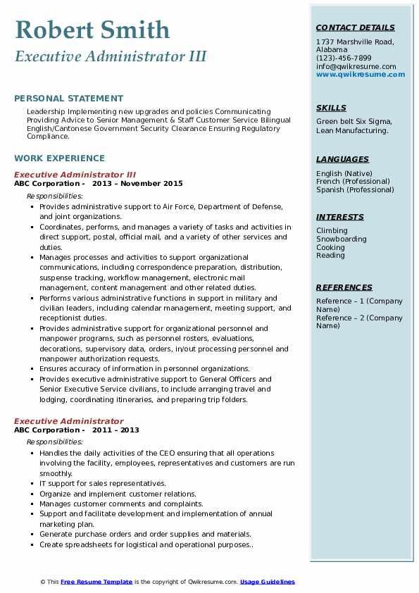 Executive Administrator III Resume Model