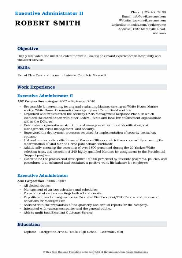 Executive Administrator II Resume Model