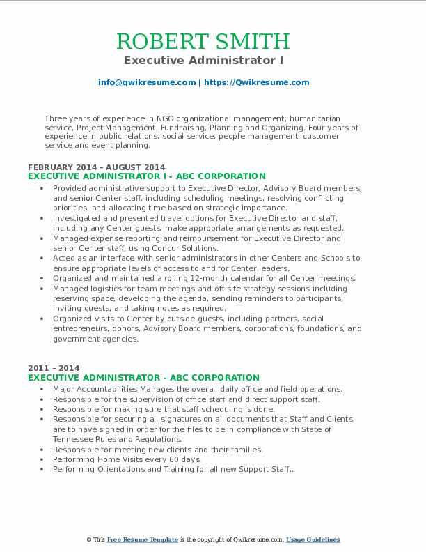 Executive Administrator I Resume Format