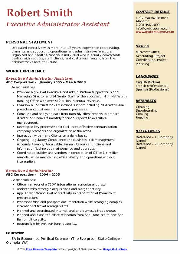 Executive Administrator Assistant Resume Example